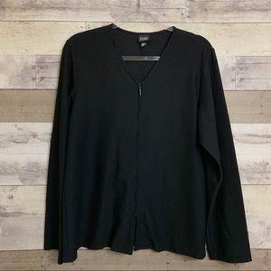 Eileen Fisher Zip Up Long Sleeve Basic Tunic Top